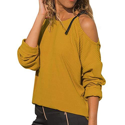 Women Autumn O Neck Long Sleeve Cotton Casual Cold Shoulder T-Shirt Blouse -
