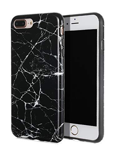 e Series) Flexible, Thin, Non-Slip Case Design【Compatible: Apple iPhone 8 Plus & iPhone 7 Plus】 (Black Marble) ()