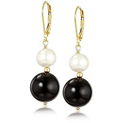 New Gold Plated Silver Black Onyx Bobby Drop with White Freshwater Cultured Pearl Earrings