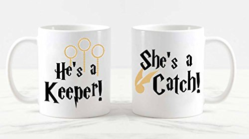 He's a catch she 's a keeper mug set, his and her mugs, couple mugs, harry potter mugs, his and hers mugs, harry potter mug couple mug set, 11oz 15oz -