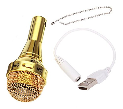 Catchin24 Golden Mic Shape Rechargable 3.5 mm Jack Mobile Speaker Portable