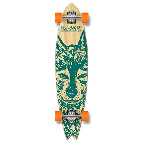 Yocaher Spirit Wolf Longboard Complete Skateboard Cruiser - Available in All Shapes (Fishtail)