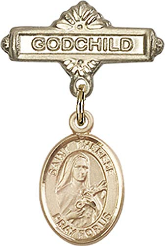 14kt Gold Filled Baby Badge with St. Therese of Lisieux Charm and Godchild Badge Pin St. Therese of Lisieux is the Patron Saint of Aviators/Florists 1 X 5/8