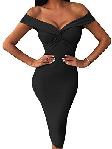 Black Draped Dress - BEAGIMEG Women's Sexy Draped V Neck Off Shoulder Bodycon Midi Party Dress Black