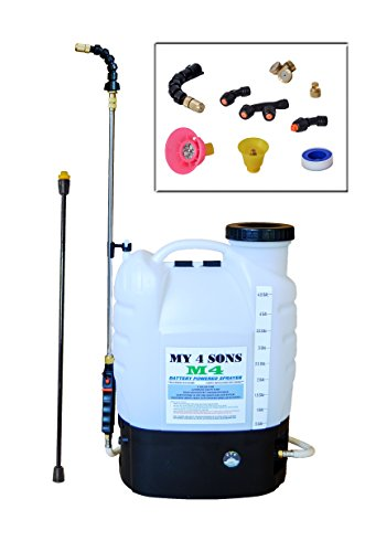 Diaphragm Sprayer - 4-Gallon Battery Powered Backpack Sprayer Wide Mouth With STEEL WAND and BRASS NOZZLE