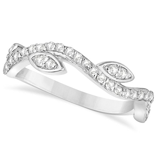 (0.36ct) 14k White Gold Diamond Marquise Shape Vine Leaf Ring ()
