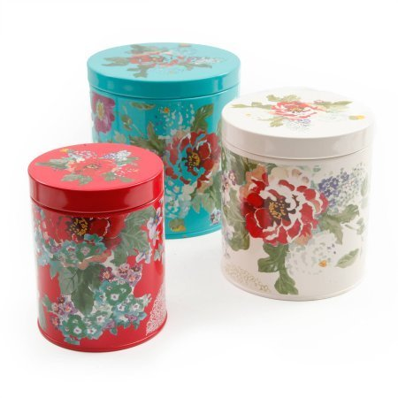 untry Garden 3-Piece Canister Set, Multi-Color (Garden Kitchen Canister)