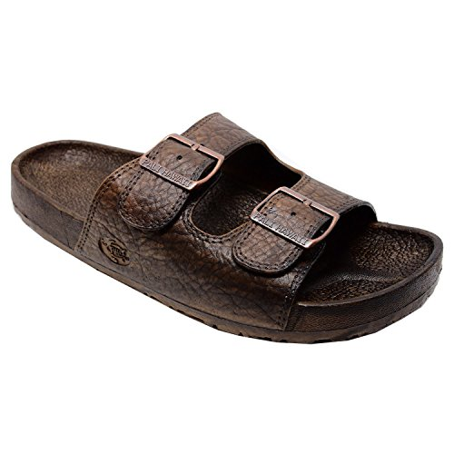Pali Hawaii 2 Buckle Sandal (Brown, (2 Buckle)