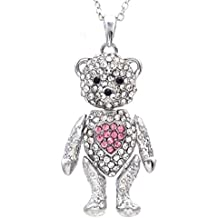 SoulBreezeCollection Valentine's Day Teddy Bear Necklace Red Heart Pendant Mother's Day Gift for Mom
