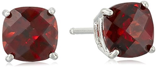 Sterling Silver Cushion-Cut Checkerboard Garnet Stud Earrings ()