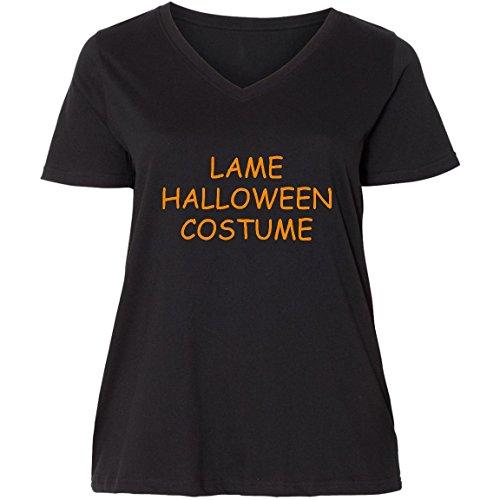 inktastic - Lame Halloween Costume Ladies Curvy V-Neck Tee 4 (26/28) Black -