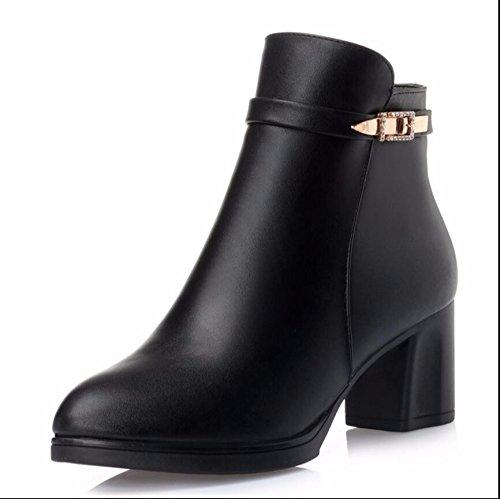 Courtes KHSKX Aged Chaussures En Le Chaud Mère De Middle Plus Cm Bottes Âgé Chaussures Automne Et 6 La Noir De Hiver La Pente Velvet Boots Bold Suivre 37 Des Coton Avec Et zzqw0r