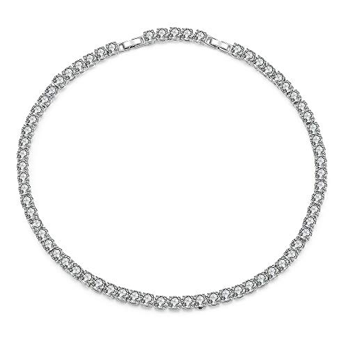 Mytys Silver Plated Finish Cubic Zirconia Solitaire Tennis Choker CZ Tennis Necklace for Women Bride with Gift Box,16 +1.6 inches
