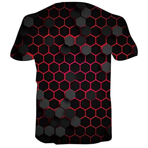 RAISEVERN 3D Graphic Printed T Shirt for Mens Womens Summer Casual Hexagon Short Sleeve Tshirt L