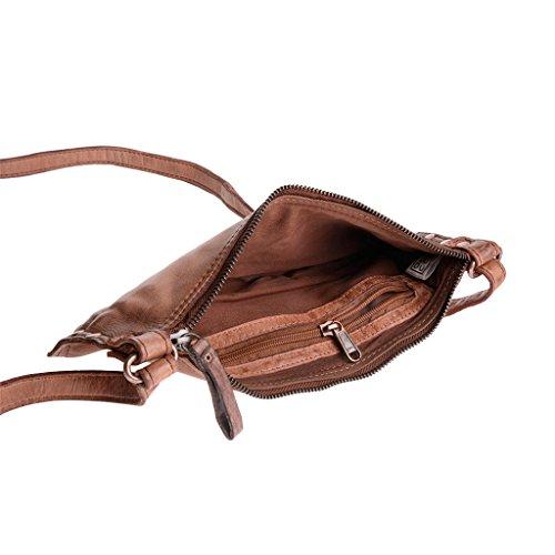 Damen Umhängetasche in gewaschenem Leder Nieten und Träger von DuDu Onyx Brown SCtf6bEsW