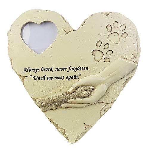 (jinhuoba Dog Memorial Stone - Features a Heart-Shaped Styling Photo Frame and Paw Print, Personalized Loss of Pet Gifts)