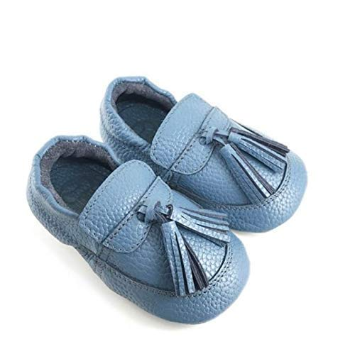 e30f60df4 Amazon.com: girl baby gift boy toddler booties unisex leather crib shoes  blue infant moccasin anti slip slipper stay on newborn boot winter: Handmade