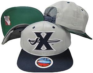 Xavier Musketeers Grey/Blue Logo Two Tone Plastic Snapback Adjustable Plastic Snap Back Hat / Cap