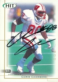 2001 Wisconsin Football - Chris Chambers autographed Football Card (Wisconsin) 2001 SAGE HIT #44 Rookie