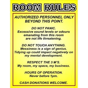 P2229 ROOM RULES FUNNY DOOR WALL POSTER PRINT: Amazon ca