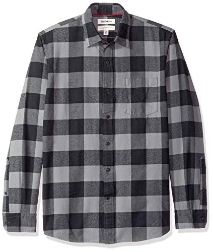 Goodthreads Men's Standard-Fit Long-Sleeve Brushed Flannel Shirt, -grey/black buffalo, Small
