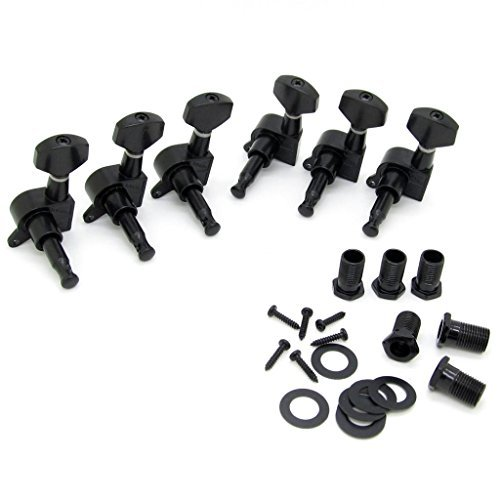 JIUWU 6R Right Black Electric Guitar String Tuning Pegs Keys Tuners for Strat Tele