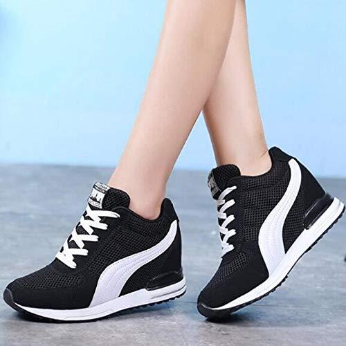 Zapatos Aumentados Color Juego Casuales Tacón Ysfu Transpirables Mujer Cómodos Otoño Deporte De Zapatillas A Cuña Y Alto Deportivos qATIYv0w