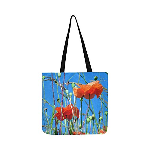 Sky Poppies Flowers Red Flowering Light Field Canvas Tote Handbag Shoulder Bag Crossbody Bags Purses For Men And Women Shopping Tote ()