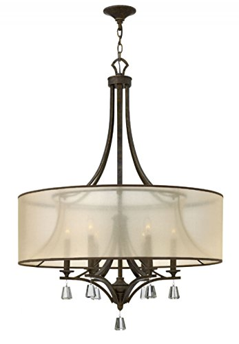Fredrick Ramond FR45608FBZ Six Light French Bronze Translucent Amber Shade Foyer Hall Pendant