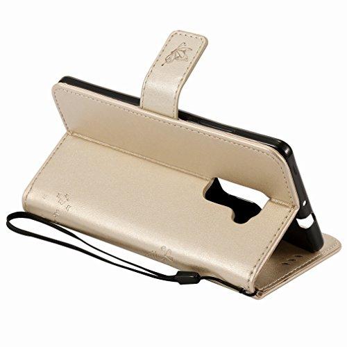 Printing Alberi Ougger Stand Pu Schede Gomma Mate Con Silicone Slot oro Case Flip Cover Bumper Per Protettivo Shell Magnetico Portafoglio Pelle S Morbido Gatto Borsa Custodia Huawei Custodie 6wCY0qnz