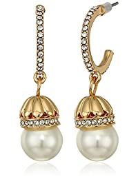 Anne Klein Women's Gold/White/Crystal Pave Stone Pearl Drop Earrings