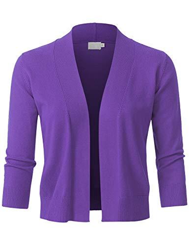 JSCEND Womens Classic 3/4 Sleeve Open Front Cropped Bolero Cardigan Ultraviolet M