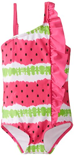Jantzen Little Girls' 1 Piece Watermelon Print Side Ruffle Swimsuit, Fuchsia, 5
