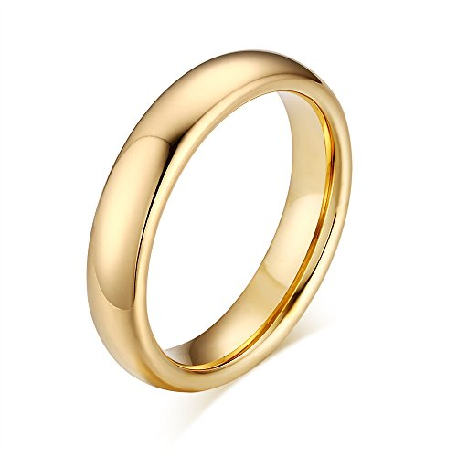 Gold High Polished Domed Ring (Couples 6mm/4mm Gold Plated-tone Domed High Polished Plain Tungsten Wedding Ring Band for Men&women)
