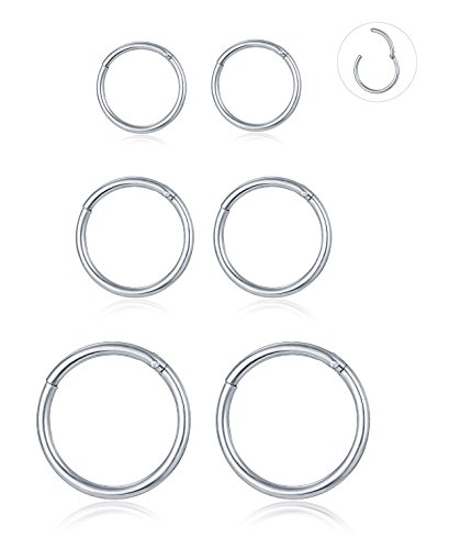 Tornito 3-6 PCS 18G-16G-14G 8-12MM 316L Steel Septum Clicker Ring Seamless Lip Nose Daith Cartilage Helix Tragus Hoop Ring (H:3 Pairs,14G Pin Thickness) (14g Jewelry)
