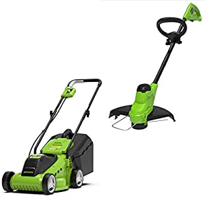 Greenworks battery-powered lawnmower and trimmer G24LMSTK2 (24 V Li-Ion 33cm cutting width up to 250qm² 25cm cutting…
