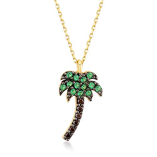 GELIN 14k Yellow Gold CZ Palm Tree Pendant Chain Necklace for Women, 18