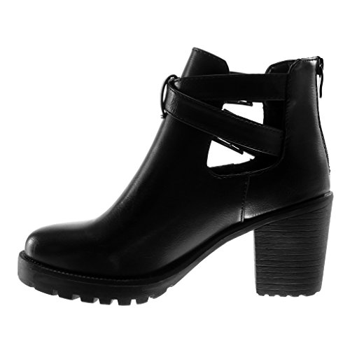 cm Ankle High Booty Buckle Open Block Biker Crossed Black Platform Angkorly Heel Women's 7 Shoes Fashion 5 Boots Thongs qxxtBTO