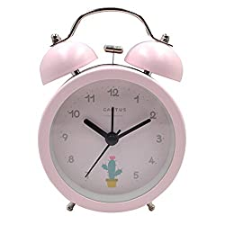 Vintage Classic Candy Color Lovely Cat Time Alarm Metal Mute Non-ticking Clock(Pink)