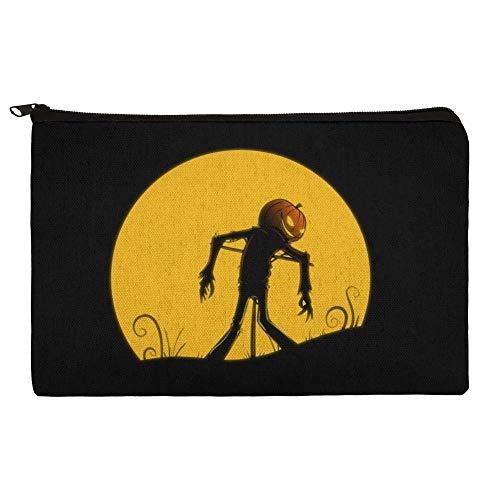 Jack-o'-lantern Scarecrow Halloween Makeup Cosmetic Bag Organizer Pouch]()