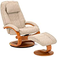 Mac Motion Oslo Swivel Recliner with Ottoman in Tan and Walnut