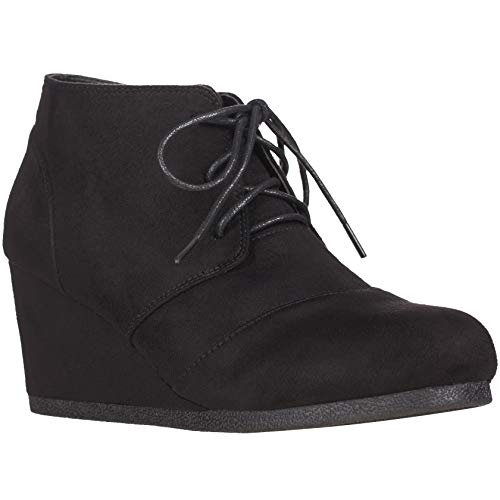 ILLUDE Women's Round Toe Lace Up Wedge Heels Suede Ankle Boots Booties (9, Black)