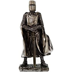 "Crusader Knight Statue Silver Finishing Cold Cast Resin Statue 7"" (8712)"
