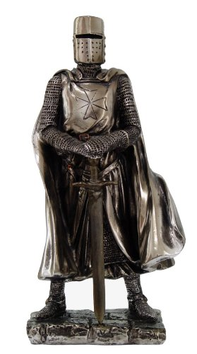 Resin Cast Cold (Crusader Knight Statue Silver Finishing Cold Cast Resin Statue 7