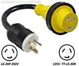 L6-20P 3Pin Male 220/250V Plug To TT-L5-30R 125V RV Camper Travel Trailer Motor Home Weatherproof Receptacle Socket Outlet Adapter Electrical Power Twist Lock Connector Cord Convert NEMA UL-FX124V1079