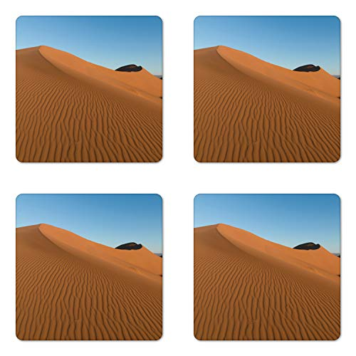 Ambesonne Desert Coaster Set of 4, Landscape Photo of Wind Stains on Sands and Open Sky, Square Hardboard Gloss Coasters for Drinks, Deep Sky Blue and Pale Caramel