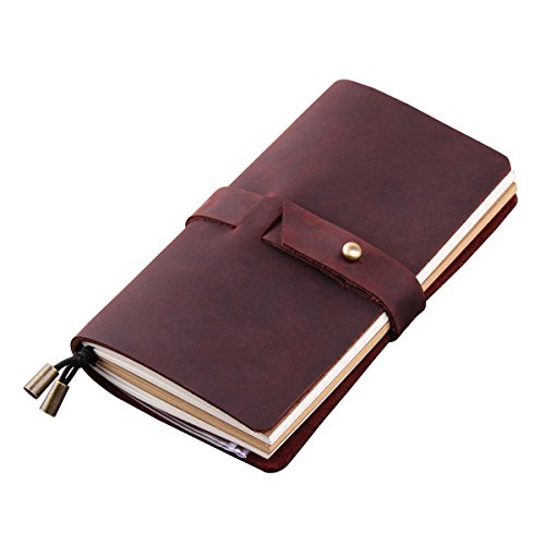 "Robrasim Handmade Travelers Notebook Refillable Leather Journal Vintage Travel Diary Notes 6.7"" x 4"""", 3 Inserts, 192 Pages - Wine"
