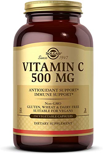Solgar Vitamin C 500 mg, 250 Vegetable Capsules - Antioxidant & Immune Support - Overall Health - Supports Healthy Skin & Joints - Non-GMO, Vegan, Gluten Free, Kosher - 250 Servings