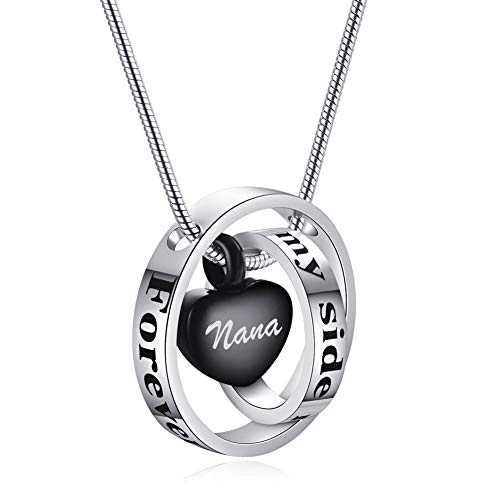 Murinsart Forever In My Heart Stainless Steel Heart Cremation Urns Necklace Pendant Locket Set for Human Dog Cat Pet Ashes Memorial Funeral Keepsake Ash Holder Circle Rings Charm Decor Jewelry