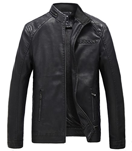 YIMANIE Men's Stand Collar Faux Leather Jacket Casual Bomber Coat Motorcyle Lightweight ()